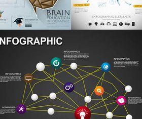Brain Infographics Backgrounds 2 vector graphic