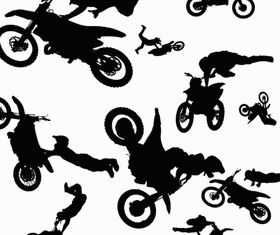 Silhouettes motorcyclists vector