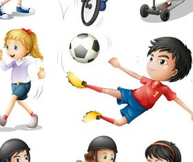 Children in sport vector set