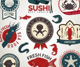 Seafood Labels free vector material
