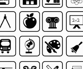 School and Education icons Free Illustration vector
