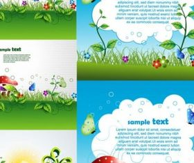 green cartoon background set vector