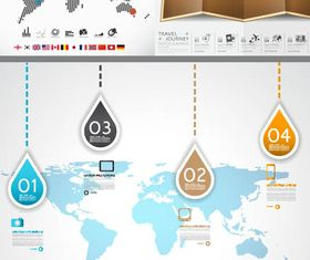 Infographics with World Map 5 vectors material