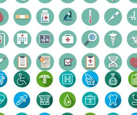 Flat Medical Icons Set vectors graphics
