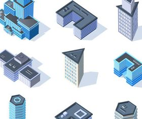 3D Buildings Set 2 vector