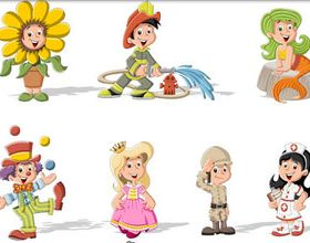 Children in costumes vectors