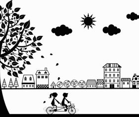 Boy and girl on bike Free vector set