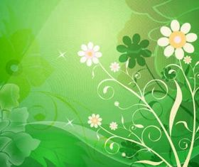Abstract Flower Green Background Free vector set