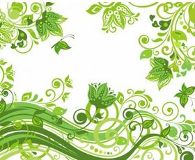 Abstract Floral Green Background vector graphics