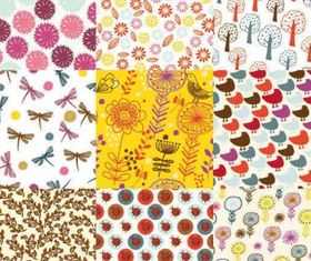 Flowers patterns background 05 design vector