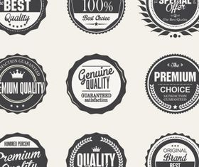 Black premium quality label set vector