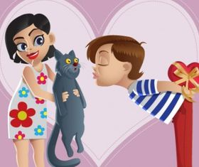 Valentine kiss Free vector