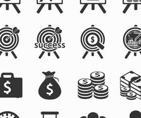 Black Money Icons vector