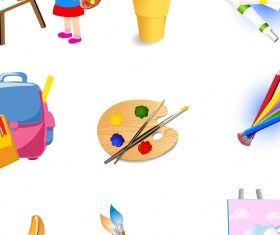 Drawing tools icons set Free Illustration vector