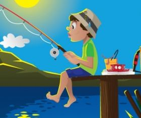 Fishing time Free vector set