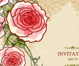 Hand-painted flowers floral background Free vector