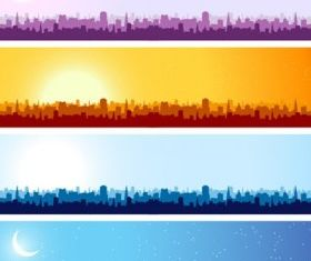 City silhouette banner background set vector