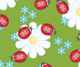Cute ladybug flowers background vector