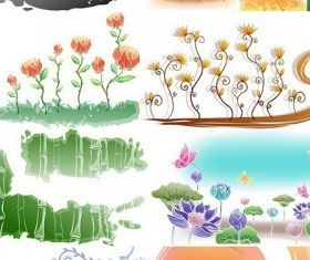 Fresh flowers handpainted background 01 vector
