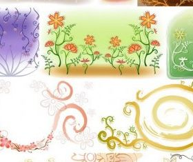 Fresh flowers handpainted background 02 vector