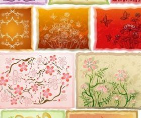 Fresh flowers handpainted background 04 vectors