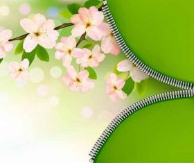 Green pink flower background Free vector