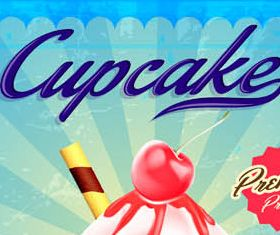 Backgrounds with Cupcakes design vectors