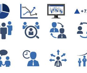 Blue Business Icons Set shiny vector