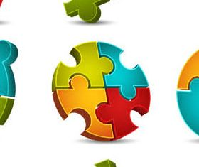 Abstract Puzzles Logo 2 vectors graphics