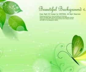 Leaves and butterflies background vector