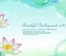 Lotus and water bubbles background vector