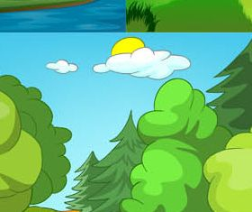 Landscapes Backgrounds Mix 4 vectors material