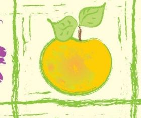 Handpainted fruit background 4 vector