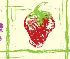 handpainted fruit background 1 vector