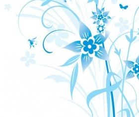flowers and blue background pattern 5 vector