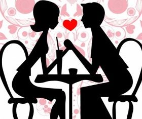 Couple in cafe vector