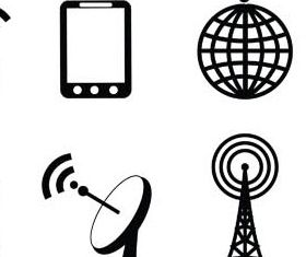 Black Communications Icons set vector