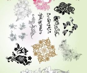classical pattern flowers vector