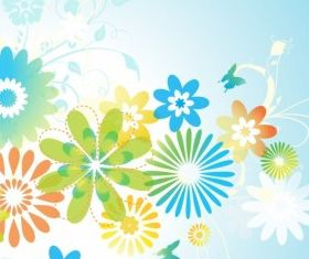 Flowers and Leaves background vector