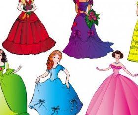 beautiful princess 01 set vector