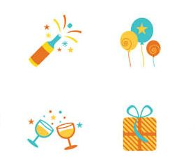 Color Party Icons Set vectors