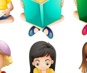 Cartoon Children Mix 6 vector graphic