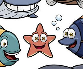 Cartoon Marine Animals Mix vector design