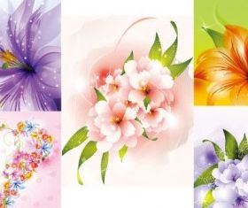 beautiful flowers design vectors