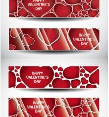valentine day banner heart set vector
