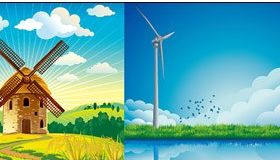 windmill classic and modern vector