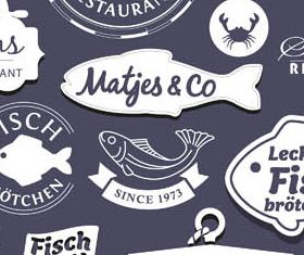 Fish Labels creative vector
