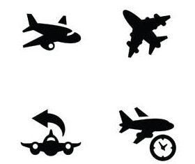 Black Transport Icons Mix vectors graphic