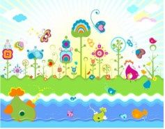 colorful flowers theme vector