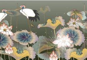 white crane and lotus set vector